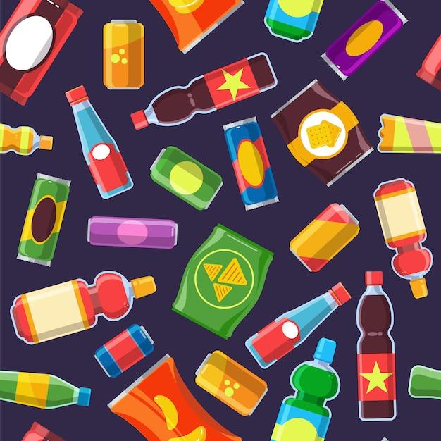 Wzór produktów z przekąskami. żywność na automat zimne napoje cola soda niezdrowy pakiet chipsy herbatniki wektor płaskie bez szwu Premium Wektorów