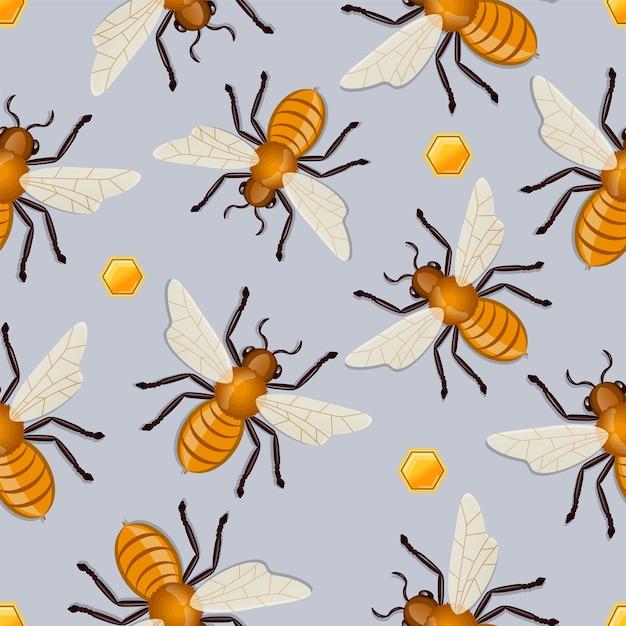 Wzór Pszczół Miodnych. Ilustracja Wektorowa Premium Wektorów