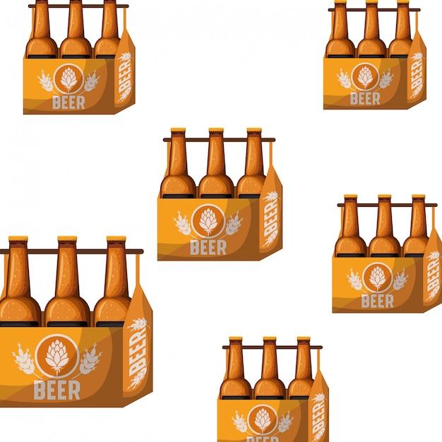 Wzór pudełka z ikona na białym tle butelek piwa Premium Wektorów