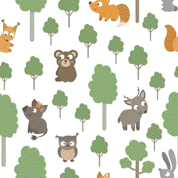 Wzór Ręcznie Rysowane Zabawne Zwierzątka Z Drzewami. Premium Wektorów