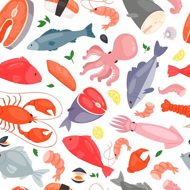 Wzór Restauracji Z Owocami Morza Premium Wektorów