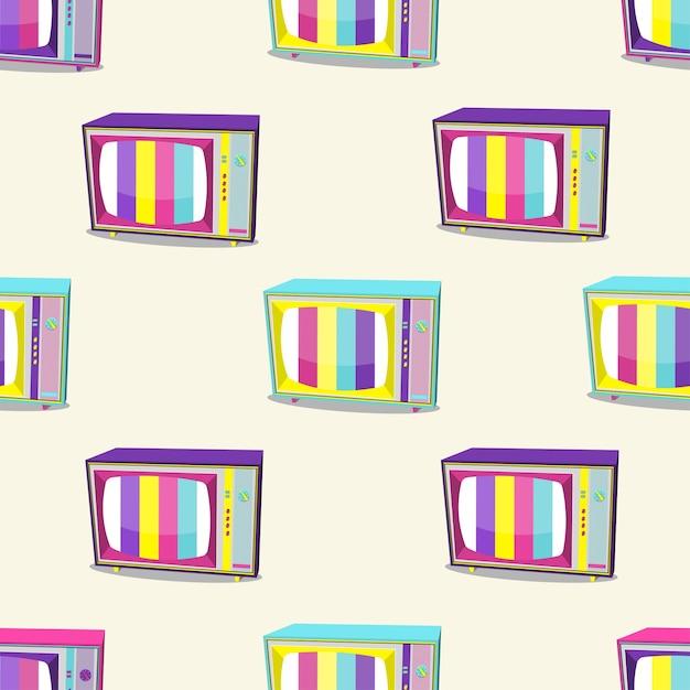 Wzór Retro Tv 90 W Jasnych Kolorach Na Białym Tle. Ilustracji Wektorowych. Premium Wektorów