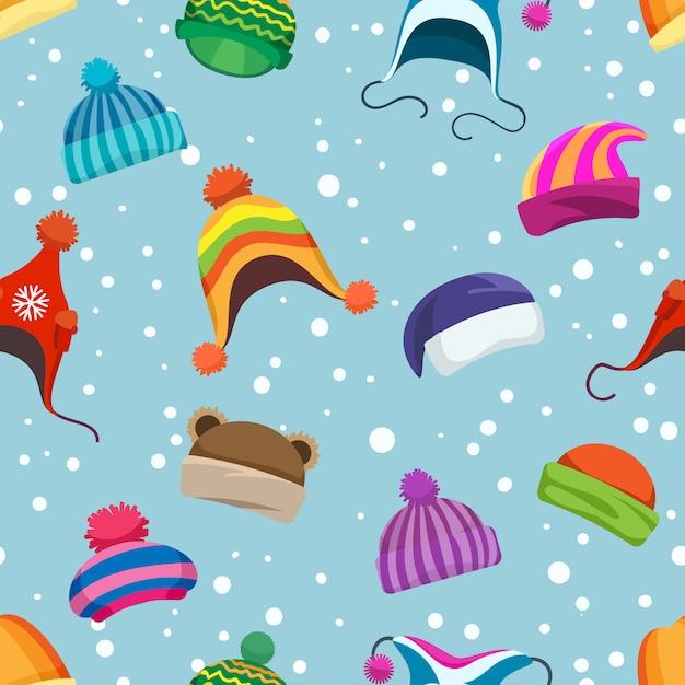 Wzór retro zimowe czapki Premium Wektorów