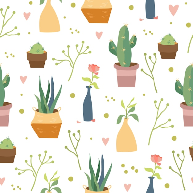 Wzór Rośliny Domowe Darmowych Wektorów