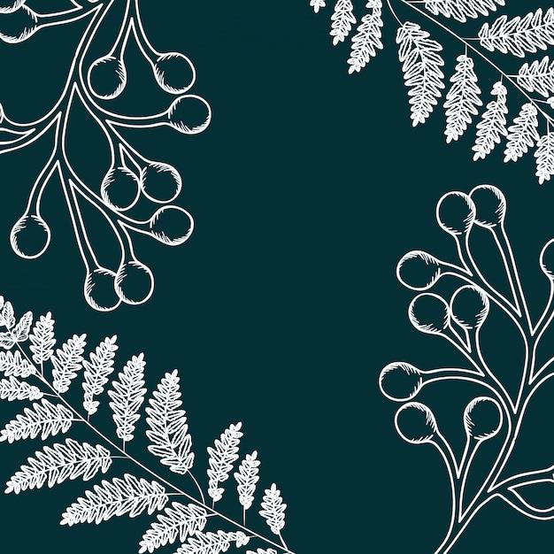 Wzór Rośliny I Zioła Na Białym Tle Ikona Premium Wektorów