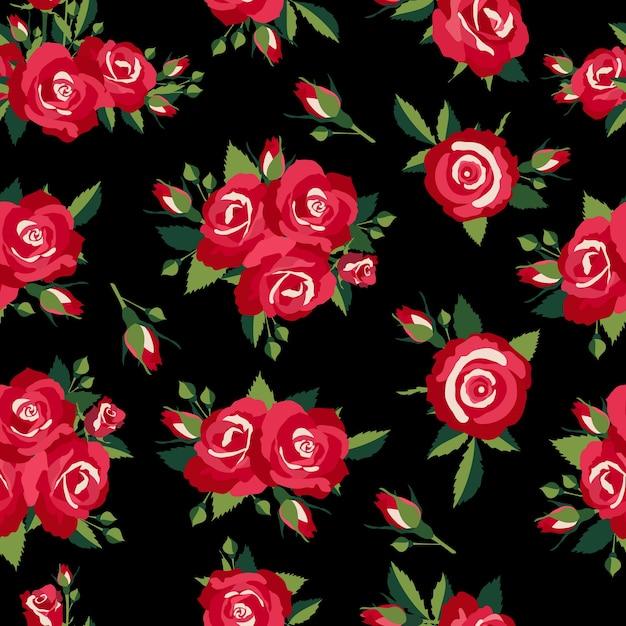 Wzór Róż Na Czarnym Tle Ilustracji Wektorowych Darmowych Wektorów