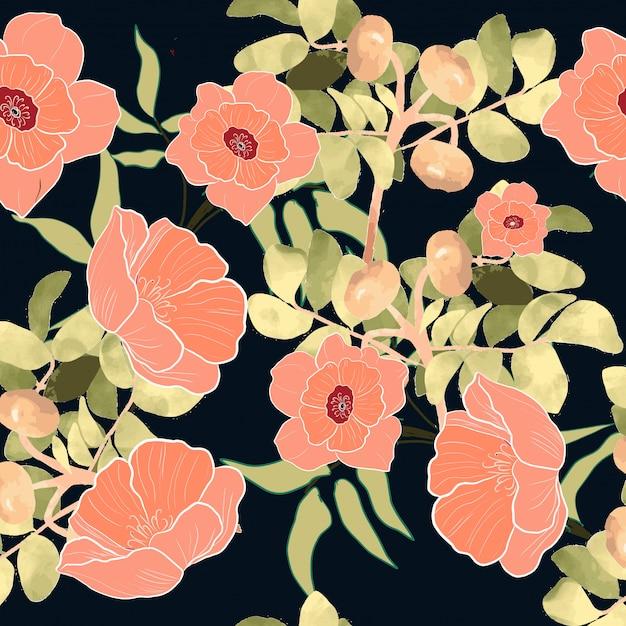 Wzór różowy kwiat kwiatowy gałąź Premium Wektorów