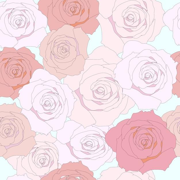 Wzór różowy kwiat róży Premium Wektorów