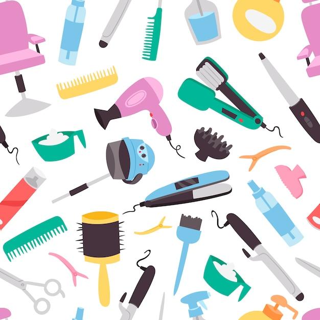 Wzór salon piękności. kolorowe narzędzia fryzjerskie wyposażenie salonu piękności. tło włókienniczych moda Premium Wektorów