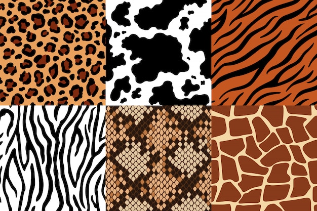 Wzór Skór Zwierzęcych. Skóra Lamparta, Tkanina Zebra I Skóra Tygrysa. Zestaw Bez Szwu Wzorów żyrafa Safari, Krowa I Wąż Premium Wektorów
