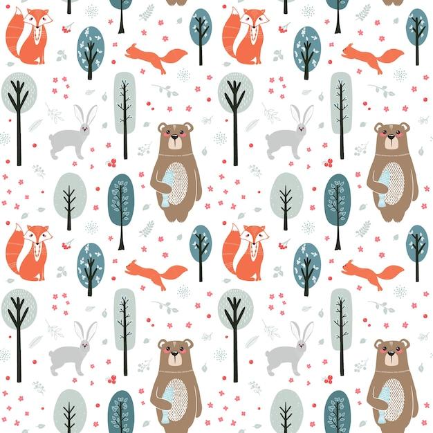 Wzór. śliczne Zwierzęta Na Tle Lasu, Drzew, Roślin. Niedźwiedź, Lis, Wiewiórka, Zając. Zwierzęta Leśne. Ilustracje W Stylu Skandynawskim Premium Wektorów