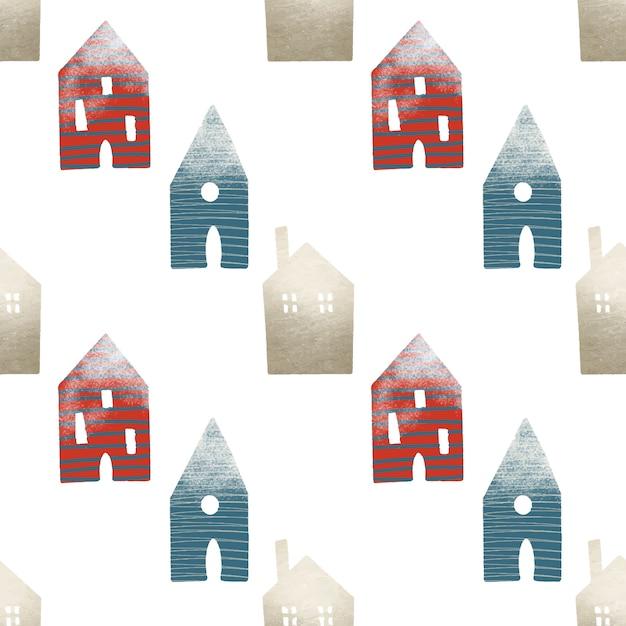 Wzór ślicznych Domów, Ozdób Choinkowych W Stylu Skandynawskim Premium Wektorów