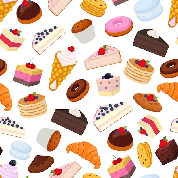 Wzór Słodkie Ciasto Premium Wektorów