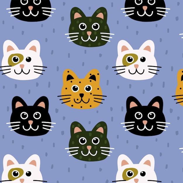 Wzór słodkie koty Premium Wektorów