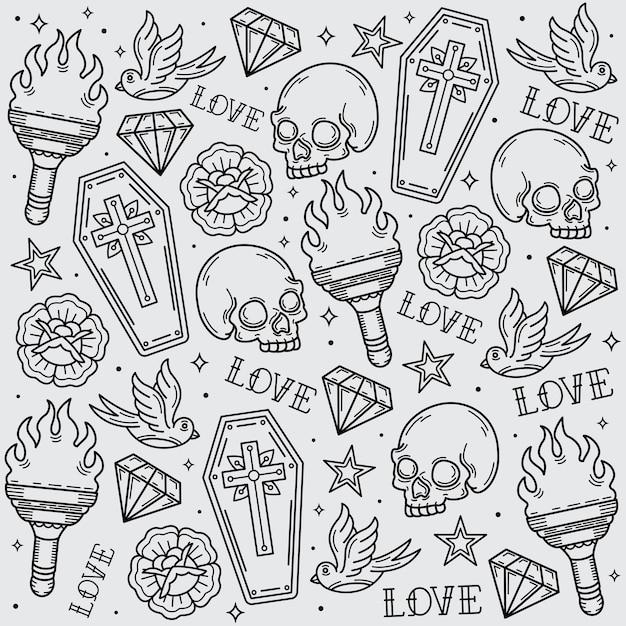 Wzór Starej Szkoły Tatuażu Premium Wektorów