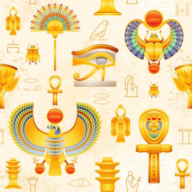 Wzór Starożytnego Egiptu. Egipski Faraon Symbol Tło. Ra Sun Scarab, Oko Horusa Falcona Wadjet, Węzeł Isis Tyet, Koptyjski Ankh, Fan, Lotus, Filar Ozyrys Djed. Premium Wektorów
