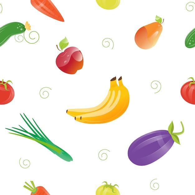 Wzór świeżej żywności Z Różnych Owoców I Warzyw. Premium Wektorów
