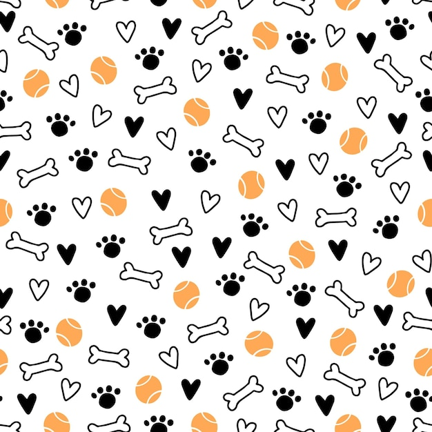 Wzór Symbolu ładny Pies Szczeniak, Zabawka, łapa, Odgłos Kroków. Kreskówka Zabawny I Szczęśliwy Pies Koncepcja Z Prostym Stylem Kształtu. Ilustracja Do Tła, Tapety, Tkaniny, Tkaniny. Premium Wektorów