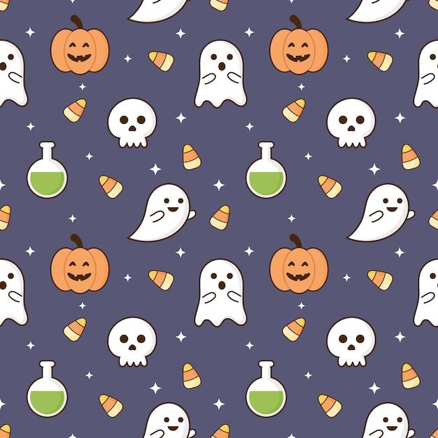 Wzór szczęśliwy halloween ikony na białym tle na fioletowym tle. Premium Wektorów