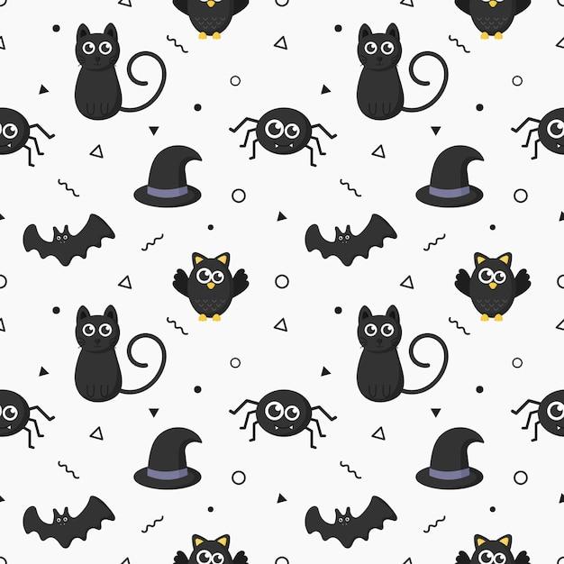 Wzór szczęśliwy halloween ikony na białym tle. Premium Wektorów