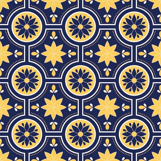 Wzór Talavera, Azulejos Portugalia, Marokański Kafelek Premium Wektorów