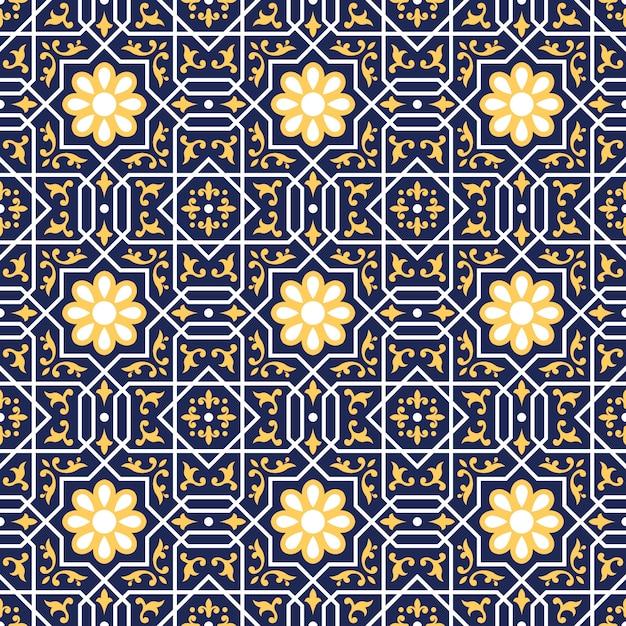 Wzór Talavera, Portugalia Azulejos, Płytki Marokańskie Premium Wektorów