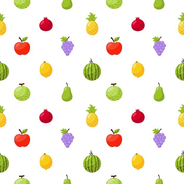Wzór Tropikalnych Owoców Na Białym Tle. Premium Wektorów