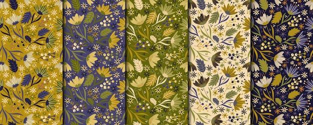 Wzór vintage kwiaty. retro botaniczny design Premium Wektorów