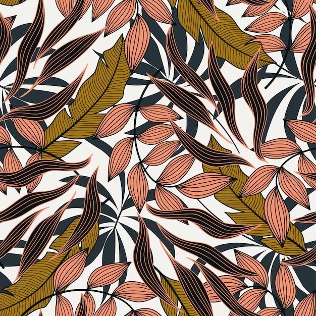 Wzór w tropikalnym stylu z kolorowych roślin i liści. nowoczesny design Premium Wektorów