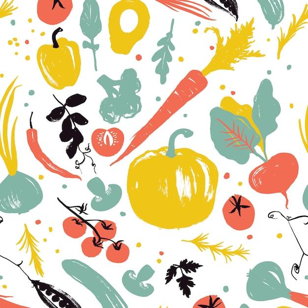 Wzór Warzywny Z Dynią, Marchewką, Cebulą, Pomidorami I Pieprzem Premium Wektorów