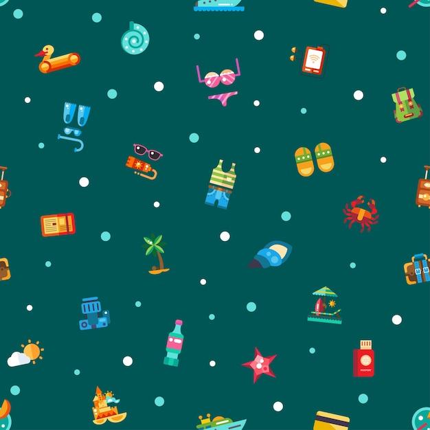 Wzór Wektor Nowoczesne Ikony Wakacje Nad Morzem I Elementy Infografiki Premium Wektorów