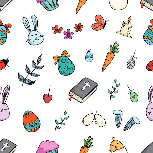 Wzór Wielkanocnych Elementów Lub Znaków Z Doodle Sztuki Premium Wektorów