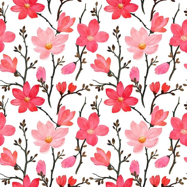 Wzór Z Akwarela Kwiat Magnolii Premium Wektorów