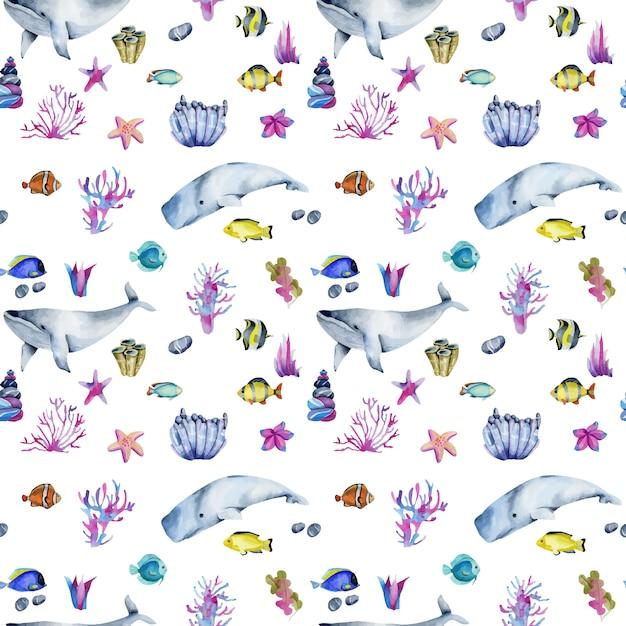 Wzór z akwarela oceaniczne ryby i wieloryby Premium Wektorów
