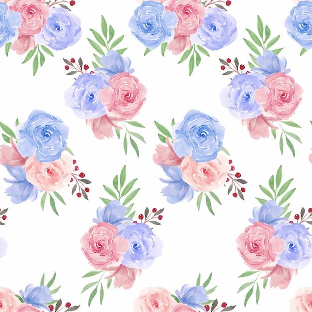 Wzór Z Akwarela Różowy Niebieski Kwiat Róży Premium Wektorów