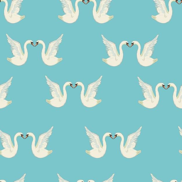 Wzór Z Białe łabędzie. Białe łabędzie Na Czarnym Tle. Ilustracja. Premium Wektorów