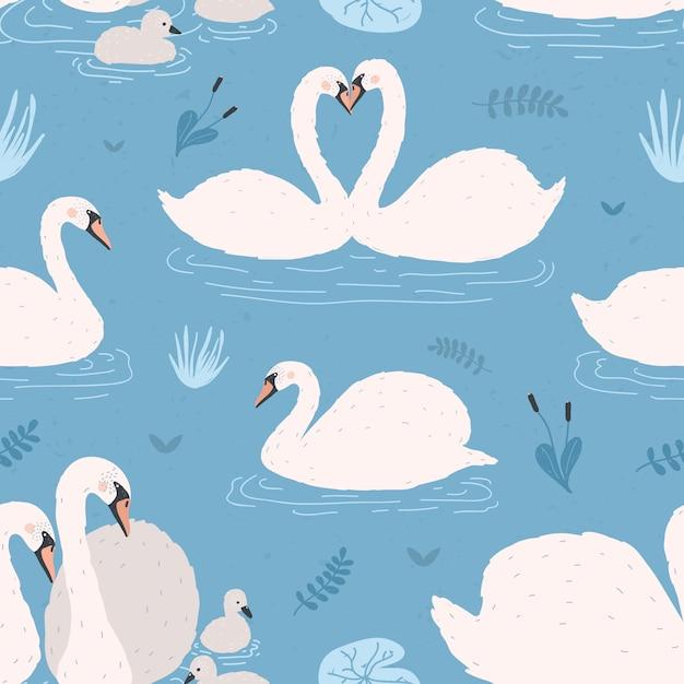 Wzór Z Białe łabędzie. Pary Singli I Ptaków Z Pisklętami. Premium Wektorów