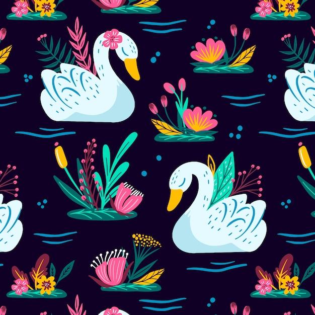 Wzór Z Białym łabędziem I Kolorowymi Kwiatami Darmowych Wektorów