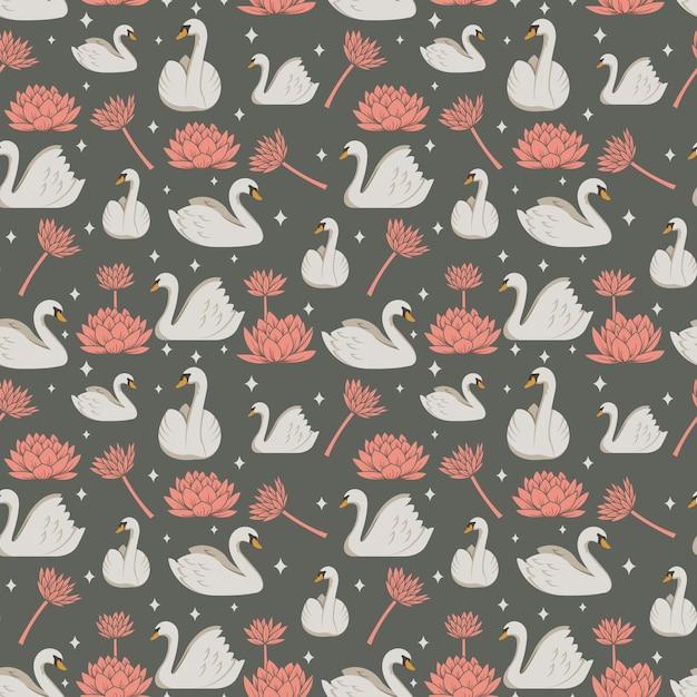 Wzór Z Białym łabędziem I Różowymi Kwiatami Darmowych Wektorów