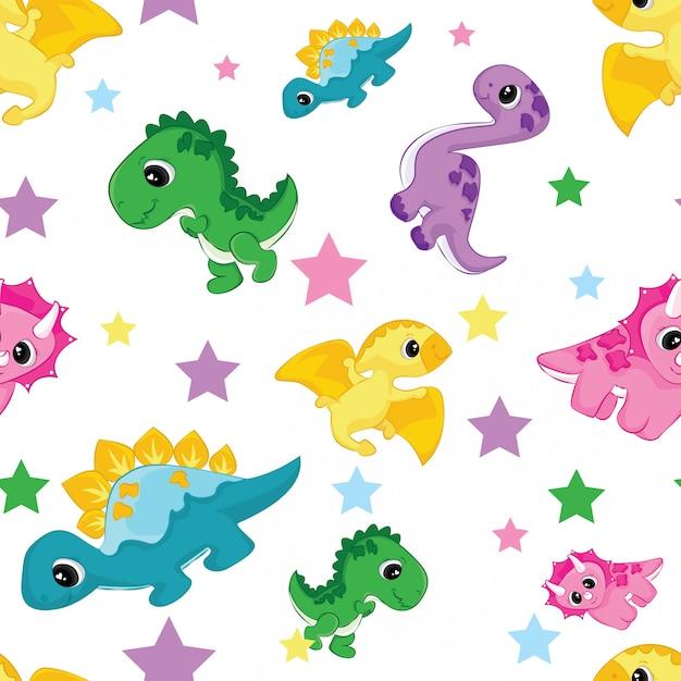 Wzór Z Cute Dinozaurów I Gwiazdą Premium Wektorów