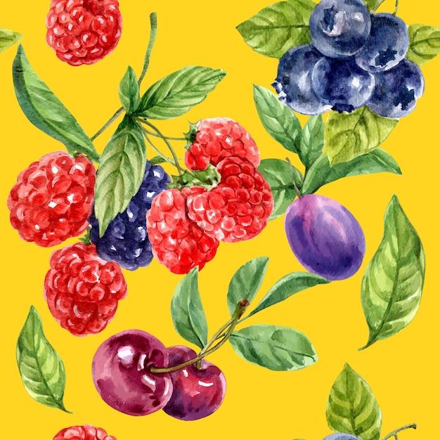 Wzór Z Czerwonymi I Purpurowymi Owoc, Kontrasta Koloru Ilustraci Szablon Darmowych Wektorów