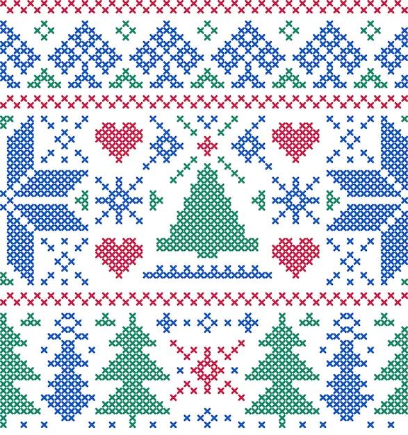 Wzór z drzew i płatki śniegu Premium Wektorów