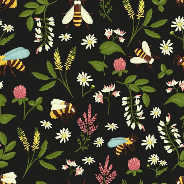 Wzór Z Dzikich Kwiatów, Pszczół I Trzmieli. Premium Wektorów