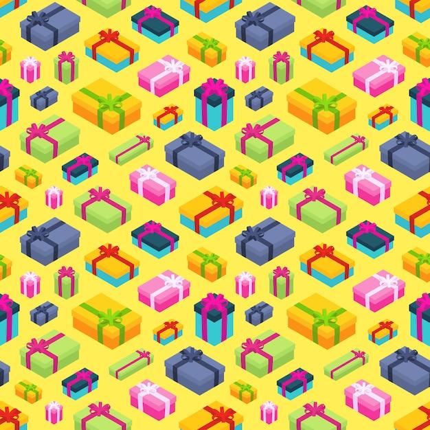 Wzór Z Izometryczne Kolorowe Pudełka Na Prezenty Premium Wektorów