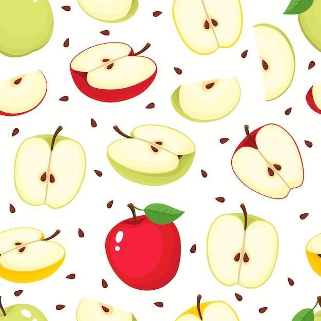 Wzór Z Jabłkami Kreskówka Na Białym Tle Premium Wektorów