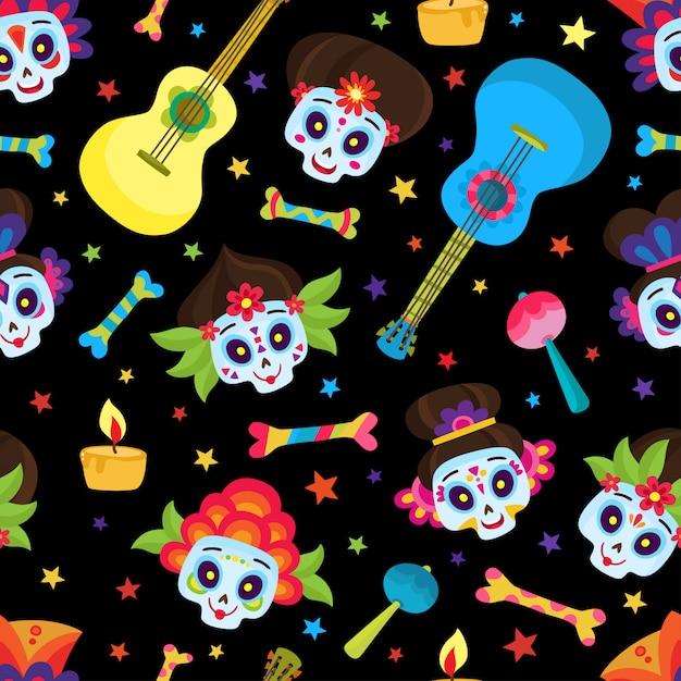 Wzór Z Kolorowych Czaszek I Gwiazd Na Dzień Zmarłych Lub Halloween, Cukru Czaszki Na Meksykański Dzień Zmarłych Na Czarnym Tle W Stylu Cartoon. Premium Wektorów