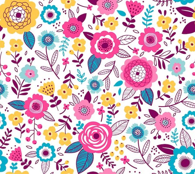 Wzór Z Kwiatami Do Projektowania. Małe Kolorowe Kwiaty Wielobarwne. Biały. Nowoczesne Tło Kwiatowy. Premium Wektorów