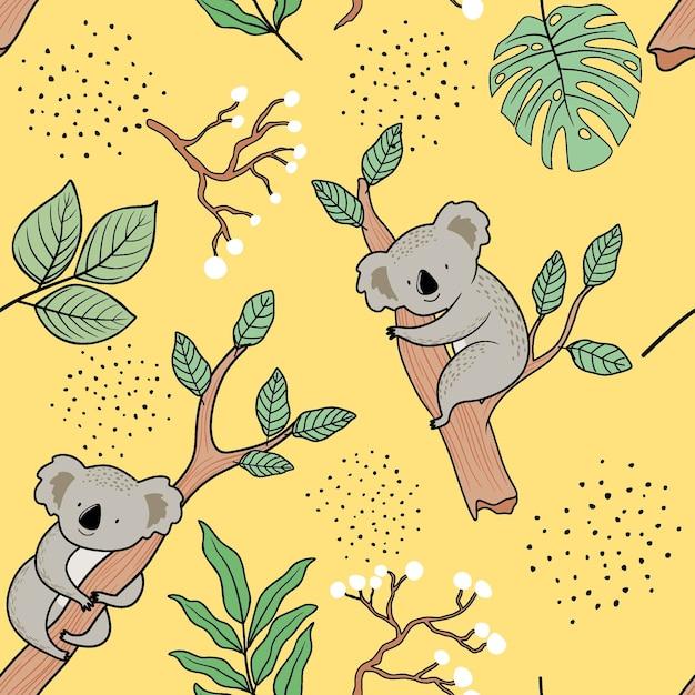 Wzór Z ładny Koala. Premium Wektorów