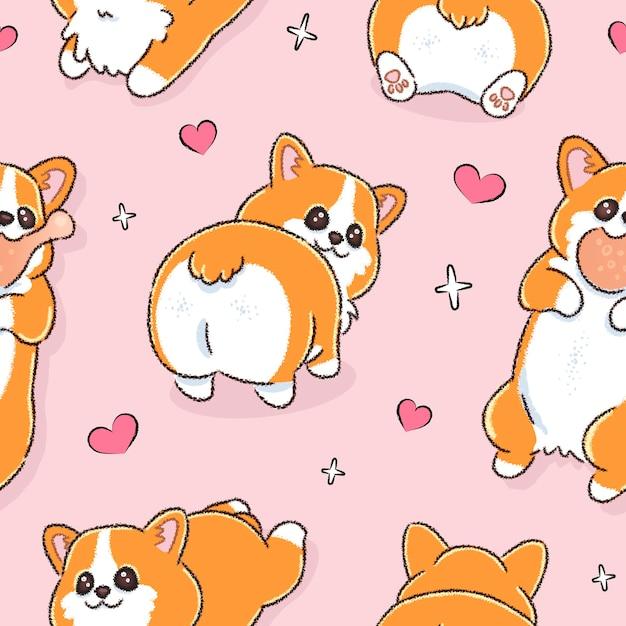 Wzór Z ładny Pies Walijski Corgi Premium Wektorów