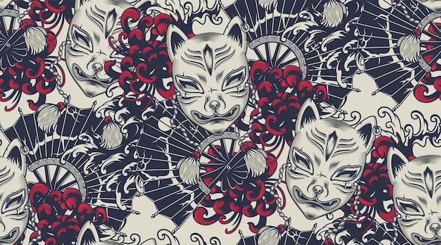 Wzór Z Maską Kitsune Na Temat Japoński. Wszystkie Kolory Są W Osobnej Grupie. Idealny Do Nadruku Na Tkaninie I Dekoracji Premium Wektorów